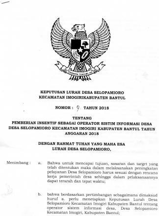 Keputusan Lurah tentang Pemberian Insentif kepada Operator Sistem Informasi Desa