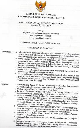 Keputusan Lurah tentang Pengukuhan Kelembagaan Pengelola Air Bersih Tirta Praja Dusun Lanteng 2