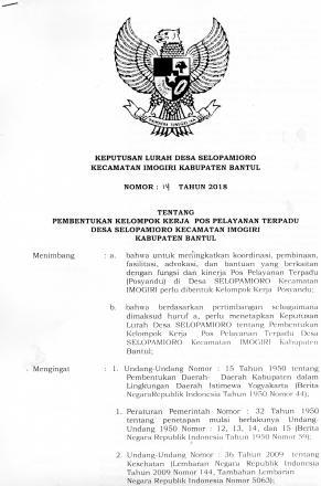 Keputusan Lurah tentang Pembentukan Kelompok Kerja Pos Pelayanan Terpadu Desa